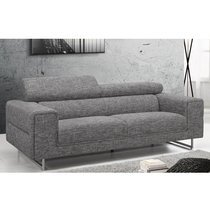 Canapé 3 places fixe en tissu gris chiné
