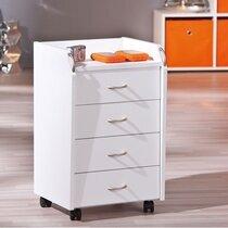 Meuble de rangement 4 tiroirs avec roulettes blanc - PROCESS