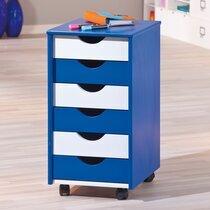 Caisson 6 tiroirs sur roulettes bleu et blanc - MODULAR