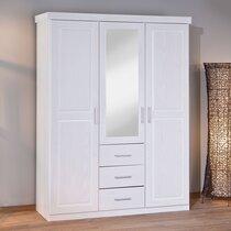 Armoire 3 portes et 3 tiroirs en pin massif laqué blanc
