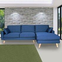 Canapé d'angle à droite en tissu bleu - ALTA