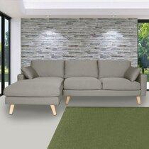 Canapé d'angle à gauche en tissu gris clair - ALTA