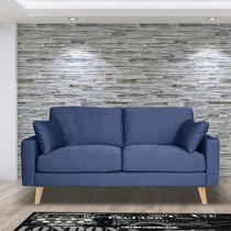Canapé 2 places fixe en tissu bleu - ALTA
