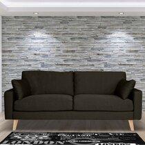 Canapé 3 places fixe en tissu gris anthracite - ALTA