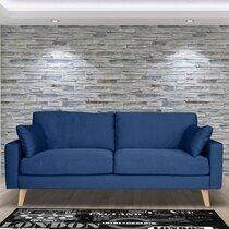 Canapé 3 places fixe en tissu bleu - ALTA
