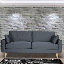 Canapé 3 places fixe en tissu gris clair - ALTA