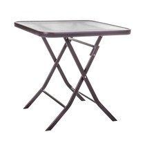 Table pliable carrée 70 cm en verre trempé effet eau et acier marron