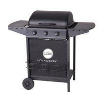 Barbecue gaz 3 brûleurs 55x104x98 cm en acier noir