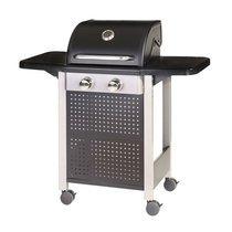 Barbecue gaz 2 brûleurs 52x116x110 cm en acier noir et gris