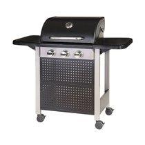 Barbecue gaz 3 brûleurs 52x126x110 cm en acier noir et gris