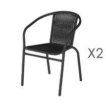 Lot de 2 chaises de jardin en rotin et fer noir