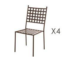 Lot de 4 chaises de jardin empilables 48x55x90 cm en fer rustique