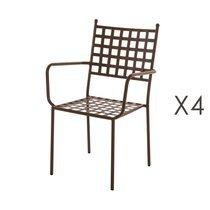 Lot de 4 fauteuils de jardin empilables 56x55x90 cm en fer rustique
