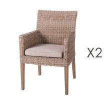 Lot de 2 chaises de jardin 60x63x86 cm en rotin naturel