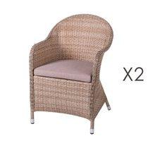 Lot de 2 fauteuils de jardin 64,5x56,5x82 cm en rotin naturel