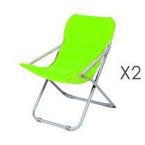 Lot de 2 chaises relax 62x75x88 cm vert