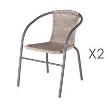 Lot de 2 chaises de jardin en rotin marron et fer