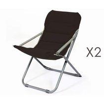 Lot de 2 chaises relax 62x75x88 cm noir