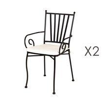 Lot de 2 chaises de jardin empilables 40x53x90 cm en fer forgé noir