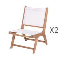 Lot de 2 chaises de jardin en acacia et textilène blanc
