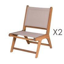Lot de 2 chaises de jardin en acacia et textilène beige