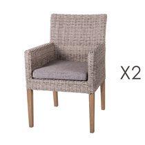 Lot de 2 chaises de jardin 60x63x86 cm en rotin vieilli