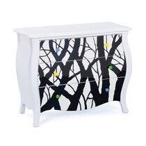 Commode 3 tiroirs 95x43x77 cm design blanc et noir