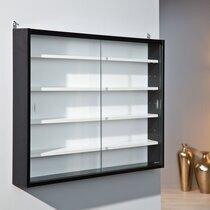 Vitrine 4 étagères 80x60x9,5 cm noir et blanc - SHOW