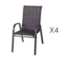 Lot de 4 chaises de jardin en textilène et acier gris foncé