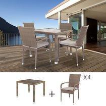 Ensemble table carrée 90 cm et 4 chaises en rotin taupe