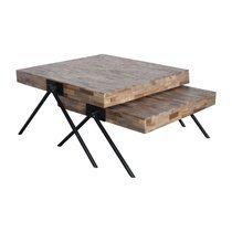 Lot de 2 tables basses carrées 80 cm en teck recyclé