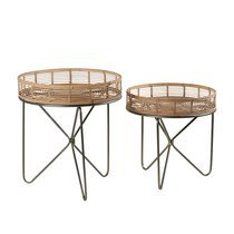 Lot de 2 tables rondes 49/60 cm avec plateau en bambou naturel