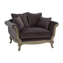 Canapé fixe 1,5 places 134x94x92,5 cm en velours gris - Pompadour
