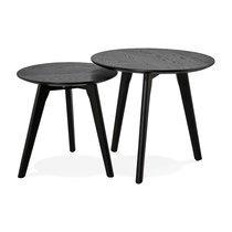 Lot de 2 tables gigognes rondes en bois noir - BALTIC