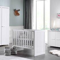 Lit bébé + commode + armoire 2 portes en pin blanc - VICKY