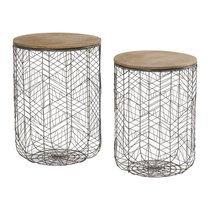 Set de 2 bouts de canapé rond en bois et métal - Spider
