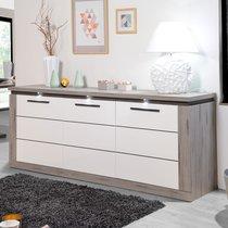 Bahut 3 portes en chêne foncé et blanc brillant avec leds - ODDA