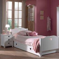 Lit avec tiroir + chevet + armoire 2 portes en pin blanc - AMORENA