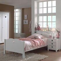 Lit 90x200 cm + chevet et armoire en pin blanc - AMORENA