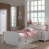 Lit avec tiroir + chevet + armoire 3 portes en pin blanc - AMORENA