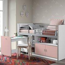Lit combiné 90x200 cm avec bureau et rangements rose - ASSIA