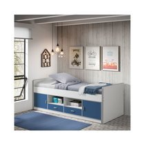 Lit 90x200 cm avec rangements bleu - ASSIA