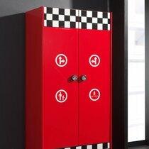 Armoire 2 portes et 1 tiroir 90x56,8x190 cm rouge - FIRE