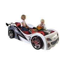 Lit voiture 90x200 cm + matelas gris et blanc - CARINO