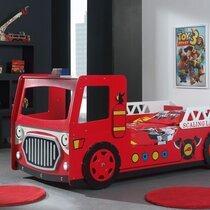 Lit camion de pompier 90x200 cm + matelas rouge - FIRE