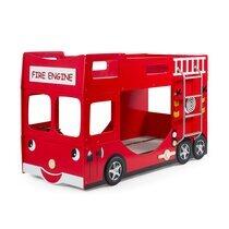 Lits superposés camion de pompier 90x200 cm + matelas rouge - FIRE