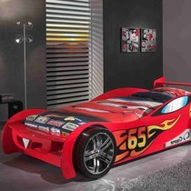 Lit voiture 246,6 x 111 x 66 cm rouge + matelas - CARINO