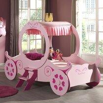 Lit carosse 90x200 cm + matelas rose - PRINCSS PINKY