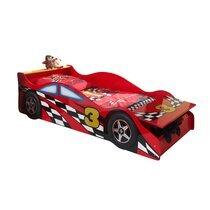 Lit voiture avec coffre 70x140 cm + matelas rouge - CARINO