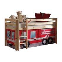 Lit surélevé 90x200 cm avec échelle naturel décor pompier - PIN